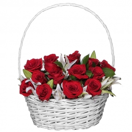Розы и лилии в корзине