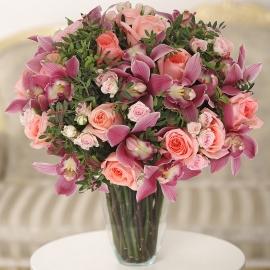 Букет из орхидей и роз (экстра)