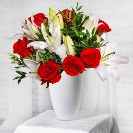 Букет из роз и лилий (экстра)
